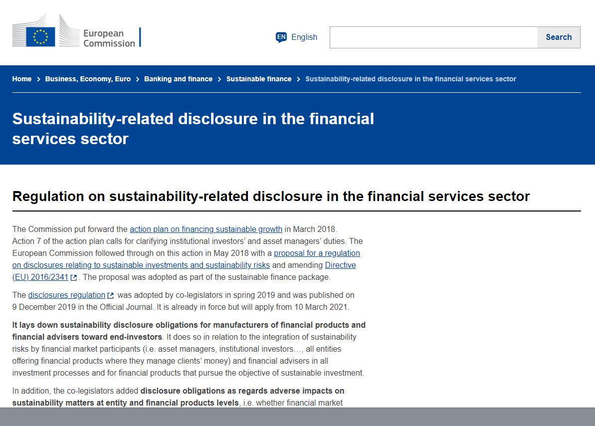 EUs Sustainable Finance Disclosure Regulation (SDFR) trådte i kraft 10 marts 2021
